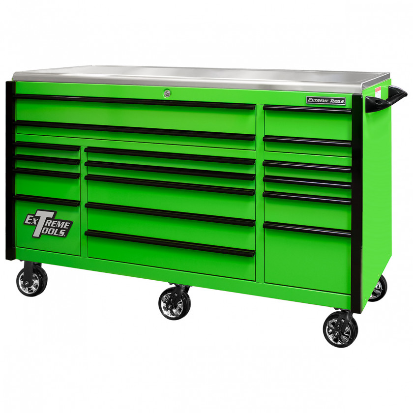 EX7217RCQGNBK-Closed - Extreme Tools EX Professional Series 72 x 30 inch Roller Cabinet with 300-600 lbs Drawer Slides - RockinToolBoxes