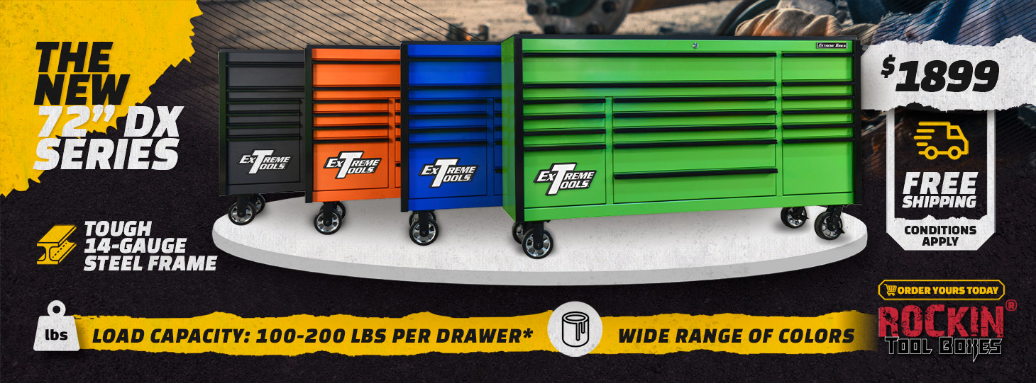 "Extreme Tools New DX Series 72"" x 21"" Roller Cabinets - RockinToolBoxes"