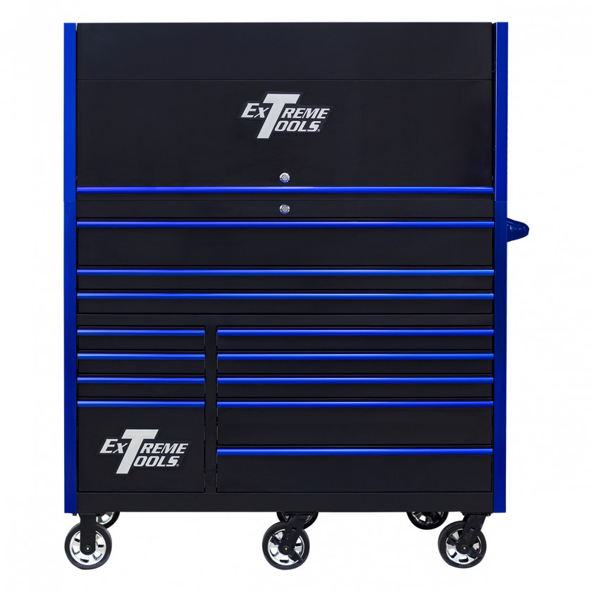 RX552513HRBKBL-X -55 x 25 inch Roller and Power Workstation Hutch with Closed Lid - Black-Blue
