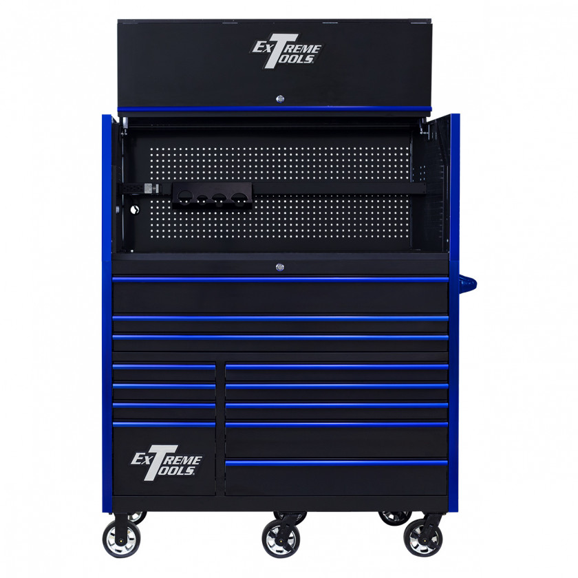 RX552513HRBKBL-X -55 x 25 inch Roller and Power Workstation Hutch with Open Lid - Black-Blue