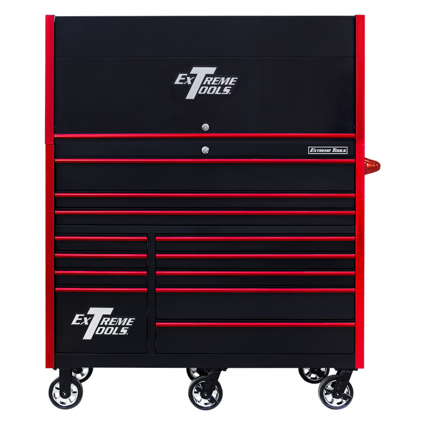 RX552513HRBKRD-X -55 x 25 inch Roller and Power Workstation Hutch with Closed Lid - Black-Red