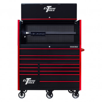 RX552513HRBKRD-X -55 x 25 inch Roller and Power Workstation Hutch with Open Lid - Black-Red