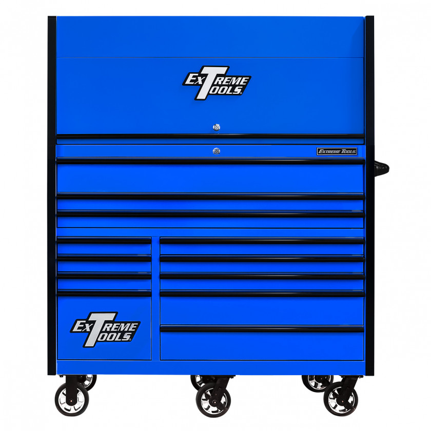 RX552513HRBLBK-X -55 x 25 inch Roller and Power Workstation Hutch with Closed Lid - Blue-Black