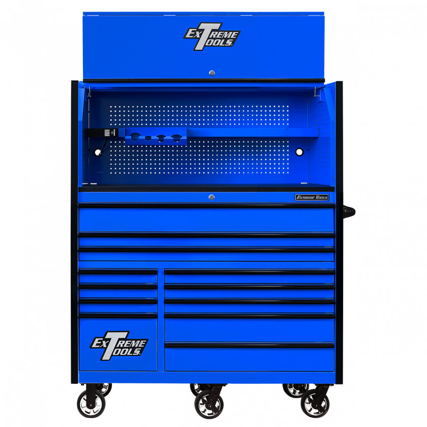 RX552513HRBLBK-X -55 x 25 inch Roller and Power Workstation Hutch with Open Lid - Blue-Black