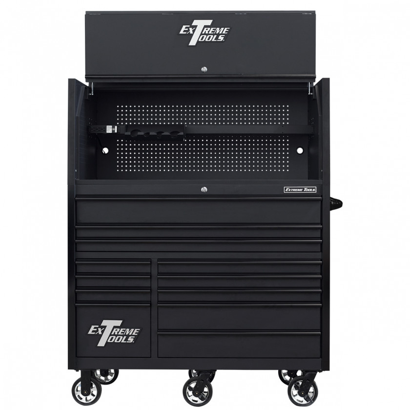 RX552513HRMBBK-X -55 x 25 inch Roller and Power Workstation Hutch with Open Lid - Matte Black