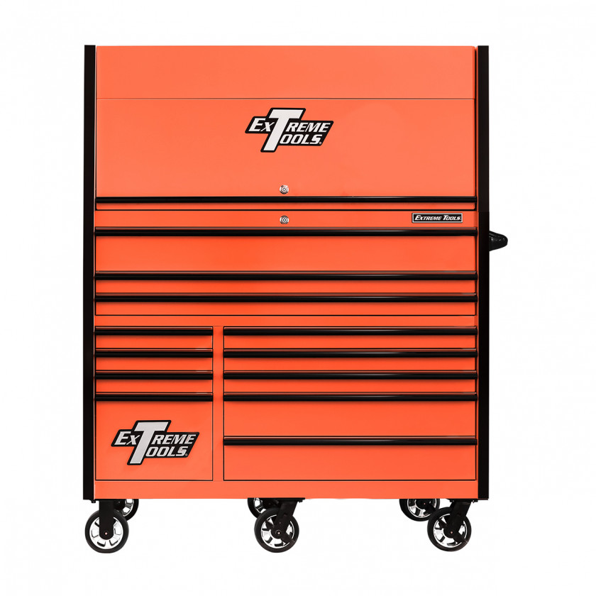 RX552513HRORBK-X -55 x 25 inch Roller and Power Workstation Hutch with Closed Lid - Orange-Black