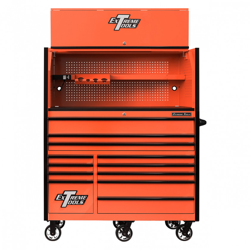 RX552513HRORBK-X -55 x 25 inch Roller and Power Workstation Hutch with Open Lid - Orange-Black