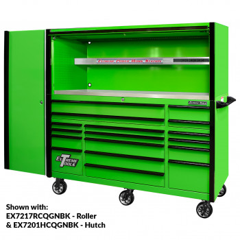 EX2404CSQGNBK Side Locker - Shown with EXQ 72inch Roller and Hutch Combo - Green Black   EXQ Series 24x30 in. 4 Drawer and 2 Shelf Pro Side Cabinet Green w Black Handles - EX2404SCQGNBK-OPEN   RTB