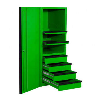 EXQ Series 24x30 in. 4 Drawer and 2 Shelf Pro Side Cabinet Green w Black Handles - EX2404SCQGNBK-OPEN   RTB
